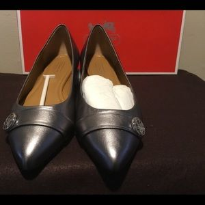 NWT COACH CASUAL PEWTER & black PAIR OF FLATS.